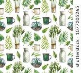 watercolor seamless pattern... | Shutterstock . vector #1077205265