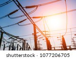 high voltage electric... | Shutterstock . vector #1077206705