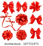 big set of red gift bows with... | Shutterstock .eps vector #107721971