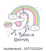 cute unicorn and rainbow t... | Shutterstock .eps vector #1077222224