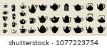 teapots and cups vector... | Shutterstock .eps vector #1077223754