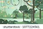 green forest silhouette nature... | Shutterstock .eps vector #1077224561