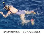 sea people swimming in a mask... | Shutterstock . vector #1077232565