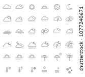 Set Of Weather Icon With Thin...