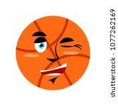 basketball winking emoji. ball...   Shutterstock . vector #1077262169