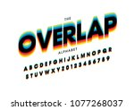 vector of stylized overlap font ... | Shutterstock .eps vector #1077268037