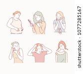 appearance complex girls. hand... | Shutterstock .eps vector #1077285167