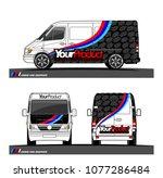 cargo van graphic vector in... | Shutterstock .eps vector #1077286484
