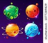 vector cartoon fantastic planet ... | Shutterstock .eps vector #1077289829