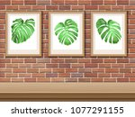 framed picture with monstera... | Shutterstock .eps vector #1077291155