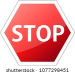 gradation red stop sign  | Shutterstock .eps vector #1077298451