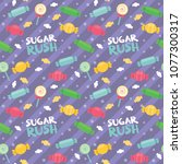 sugar rush text candy lolly pop ... | Shutterstock .eps vector #1077300317