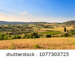 tuscany hills landscape  italy. ... | Shutterstock . vector #1077303725