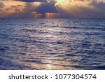 sea sunrise and horizon. | Shutterstock . vector #1077304574