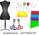 sewing accessories in vector
