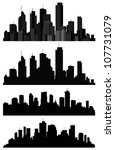 set of vector cities silhouette | Shutterstock .eps vector #107731079