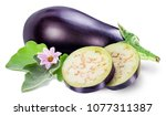 aubergine or eggplant with... | Shutterstock . vector #1077311387