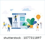social media strategy flat... | Shutterstock .eps vector #1077311897