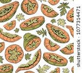 papaya seamless pattern....   Shutterstock .eps vector #1077314471