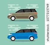 beige and blue cars in flat... | Shutterstock .eps vector #1077315749