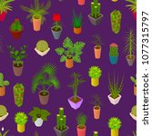 green plants in pot seamless... | Shutterstock .eps vector #1077315797