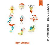 christmas and winter icons... | Shutterstock .eps vector #1077323201