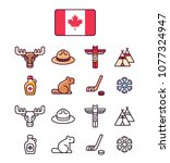 canada icons set. traditional... | Shutterstock .eps vector #1077324947
