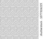 3d white paper art stitch cross ... | Shutterstock .eps vector #1077326225