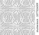 3d white paper art round spiral ... | Shutterstock .eps vector #1077326309