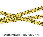 do not cross tape on white...   Shutterstock .eps vector #1077329771