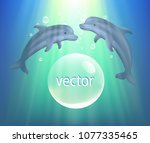 vector. dolphins swim in the... | Shutterstock .eps vector #1077335465