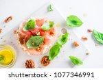 crisp bread healthy snack with...   Shutterstock . vector #1077346991