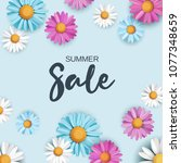 summer sale background with... | Shutterstock .eps vector #1077348659