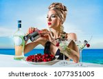 beautiful woman with a... | Shutterstock . vector #1077351005