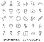 thin line icon set  ... | Shutterstock .eps vector #1077370241