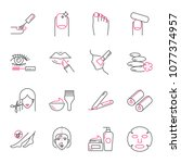 beauty vector icons set ... | Shutterstock .eps vector #1077374957