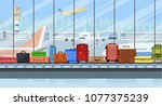 airport conveyor belt with... | Shutterstock .eps vector #1077375239