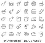 thin line icon set   sausage... | Shutterstock .eps vector #1077376589