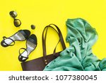 woman accessory set black open... | Shutterstock . vector #1077380045