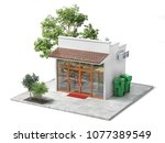 business concept. store with... | Shutterstock . vector #1077389549