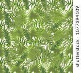 tropical pattern palm summer...   Shutterstock .eps vector #1077394109