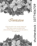 beautiful grey floral frame.... | Shutterstock .eps vector #1077406709