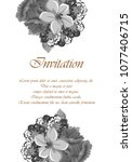 beautiful grey floral frame.... | Shutterstock .eps vector #1077406715
