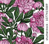 seamless pattern with pink... | Shutterstock .eps vector #1077415889