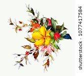 bouquet floral illustration.... | Shutterstock .eps vector #1077417584