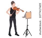 young girl violinist silhouette ... | Shutterstock .eps vector #1077417605