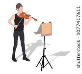 young girl violinist silhouette ... | Shutterstock .eps vector #1077417611