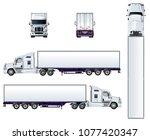 vector semi truck template...   Shutterstock .eps vector #1077420347