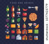 food and drink icons set pizza  ... | Shutterstock .eps vector #1077423779