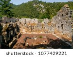 ruins of olympos ancient site... | Shutterstock . vector #1077429221